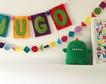 Custom Kids felt name banner multicoloured - Kookie Bright Mix - Room & party decoration