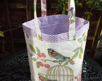 Birds on a cage oilcloth with lilac polka dot lining, tote / book / shopping bag