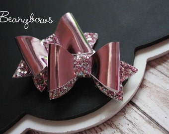 medium pink mirror and glitter hair clips