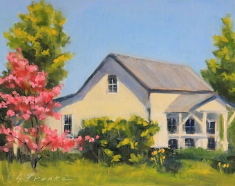 """Original oil painting, painted outside """"en plein air"""", spring time, flowering pink tree, old farm house, impressionistic landscape, 9"""" x 12"""""""
