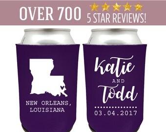 Louisiana Can Coolers, Louisiana Wedding Favor, Louisiana Beer Can Cooler, Louisiana Party Favor, New Orleans Wedding, New Orleans Favor (4)