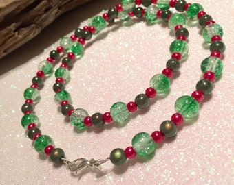 SALE,Mixed green,cerise pink necklace,20 inch,UK shop,Ready to ship,unique necklace,jewellery,jewelry,gift for her