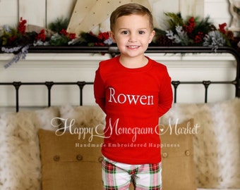 Monogrammed Christmas plaid pajamas pajamas Xmas pjs with name Baby Toddler Kid Christmas photos Children's personalized pj Family PJ's