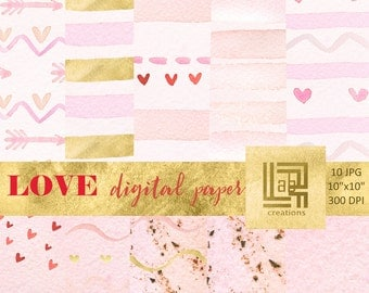 Love watercolor digital papers. Hand painted.  Valentine, heart,  arrows, pink and gold.