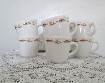 Vintage Homer Laughlin Best China/Diner China/Restaurant China Coffee Cups/Mugs  Earth Tones/Set of 6/Circa 1965  #17049 - 17053