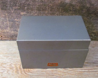 Vintage 1950's Weis Metal Box, Slate Grey Index Card Box