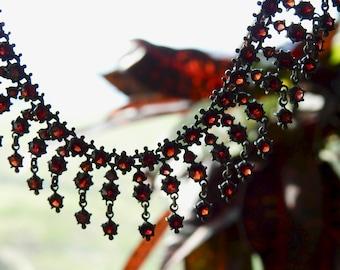 Bohemian Victorian Garnet Choker Rare