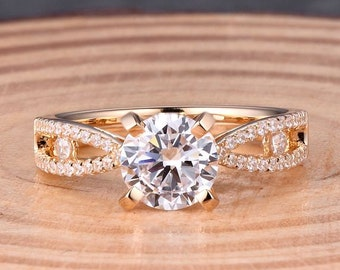 Round 7MM Solid 14K Yellow Gold Fashion Semi Mount Ring / Diamond Ring / Engagement Ring