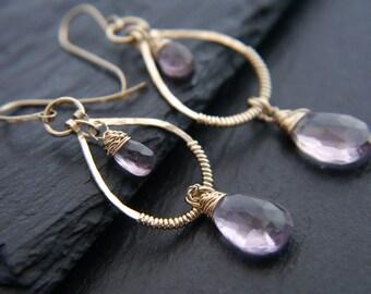Amethyst Earrings, Teardrop Earrings, Gold Filled, Wire Wrapped, Gemstone Earrings, Hoop Earrings, Wedding, Briolette Earrings, Bohemian