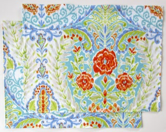 Large Cloth Placemats - Sets of 2 - Floral Flowers - Red-Orange Blue Green White -  Reversible