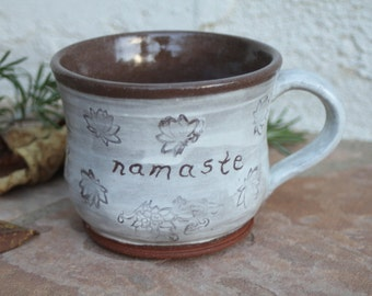 Namaste Cup handmade ceramic teacup with lotus flowers pottery coffee cup white and brown mug teacups yoga cup inspirational spiritual gifts