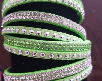 Lime Green Leather Wrap Bracelet