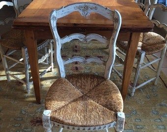 ON HOLD Antique French Provincial set of 4 dining chairs painted wood with rush seats cane chair restored off white