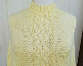 Handknitted poncho, knitted turtleneck poncho, turtleneck poncho, turtleneck sweater, Knitted wrap, knitted winter wear, Crochet poncho