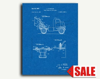 Patent Print - Truck Crane for Fifth Wheel Patent Wall Art Poster