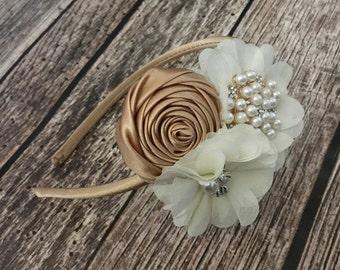 Ivory floral headband, gold headband, vintage headband, ivory and gold headband, ivory lace headband, flower girl, vintage headband,