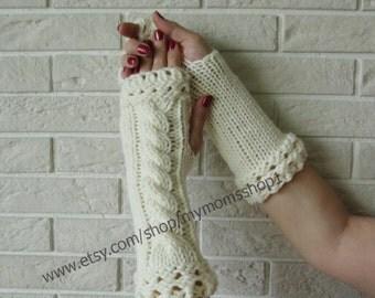 Women fingerless gloves, Valentines Day gift, wrist warmers Knit mittens women, milk gloves fingerless,  knitted mittens, Women glove.