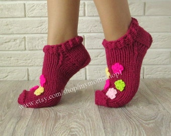 knit slipper socks. Slippers with flowers for women. Gifts Handmade knitted slippers. Wool slippers. Hand knit booties.