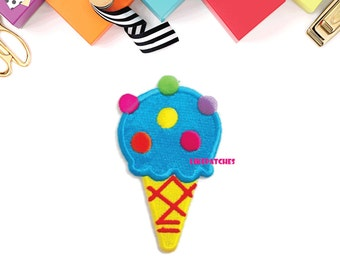 Blue Ice Cream Cone Rainbow Sugar Topping New Sew / Iron On Patch Embroidered Applique Size 4.8cm.x8.2cm.
