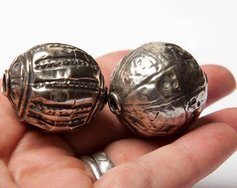 Silver antique Indian large round bead