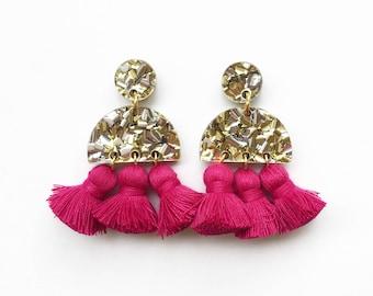 Gold and silver glitter acrylic, fuchsia tassel earrings. Laser cut handmade earrings