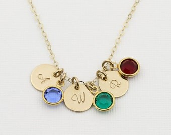 Birthstone Initial Necklace. Personalized Mothers Birthstone Necklace. HandStamped Disc. 14k Gold fill or Sterling Silver Initials Jewelry