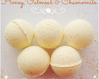 Honey Oatmeal and Chamomile bath bombs, Bath bombs, Bath fizz, Handmade bath bombs, Natural scents, Bath care, Natural bath products