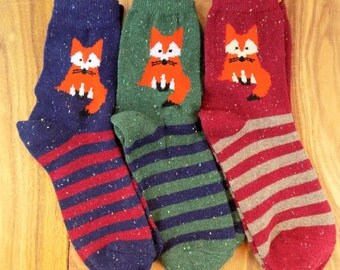 Fancy FOX Socks // Wool Blend // Fashionable Boho // Fashion Gifts for her // Novelty Animal Pet Accessories // USA FREE Shipping