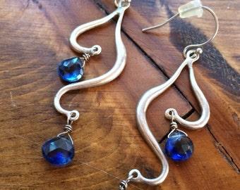 Sundance sapphire earrings faceted teardrop dancing heart hearts sterling silver dangle drop abstract
