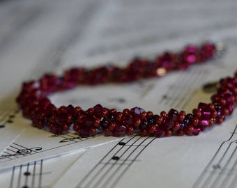 July Swarovski Spiral Birthstone Bracelet (Ruby)