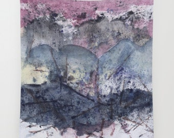 "Wall tapestry with fine art print. Abstract watercolor painting in deep indigo, grey, purple, pink. from my ""Weather Explorations"" series"