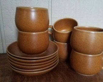 English Stoneware Cups and Saucers set of 6