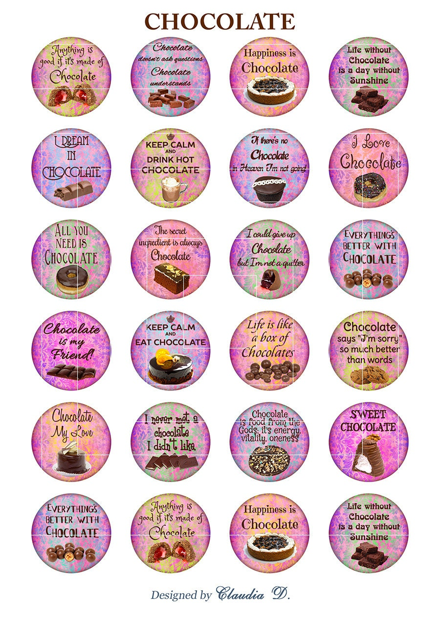 Printable Pictures Of Chocolate Cake : Digital printable download Chocolate cake, digital collage ...