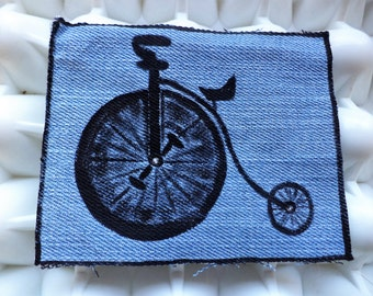 Penny Farthing Bike Patch,Black Cloth Patch, Bicycle Patch,Hand Painted Denim,Fabric Patch, Miniature Painting, Silhouette, Upcycled Denim