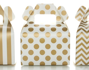 Gold Candy Box Set, Wedding Favor Boxes (36 Pack) - Striped, Chevron & Polka Dot Party Favor Treat Boxes, Small Square Gable Gift Box