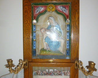 Religious art antique wall oak cabinet chandelier Last Meal porcelain Holy Mary and Jesus glass painted angels and cross circa 1900