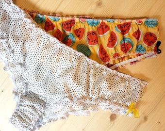 "Panties ""Coquette"" gathered, elastic and fluid, model ""Peas"" / Lingerie woman / retro Lingerie"