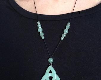 Celtic Pendant Necklace/Aventurine necklace/long necklace
