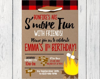 Bonfire S'mores Birthday invitation ***Digital File*** (Smores-Flannel)