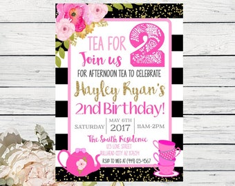 Tea Party - TEA For Two! Birthday invitation or Any age or event ***Digital File*** (Tea-BWStripe)
