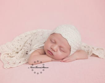 Crochet baby set - newborn photo prop - bonnet with blanket - blanket wrap - photo prop wrap - newborn