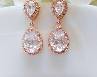 rose gold wedding earrings bride rose gold earrings rose gold earrings , pink gold wedding earring wedding jewelry bridal jewelry rose gold