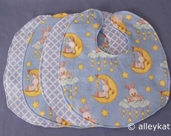 Infant Baby Bibs, Reversible, (light blues), Set of 4