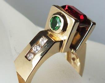 Garnet, Emerald and Diamond Ring 14K Yellow Gold, custom made