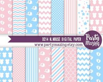 Gender Reveal Digital Paper Pack, Pink and Blue, 16 Elephant Scrapbook Background Paper, Chevron Cardmaking Printable Paper-  D625