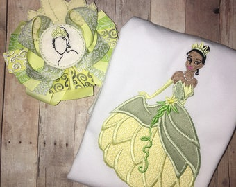 Girls Princess Tiana Princess and the Frog Boutique Birthday Party Embroidered Applique Custom T-Shirt Tshirt Shirt Birthday Party Toddler