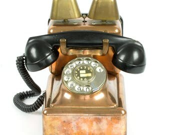Belgian brass Copper Telephone with bells by Bell mfg Co. Antwerp - w/ metal rotary dial and bakelite handle