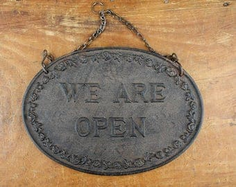 Vintage, Rustic, Iron, Open and Closed Sign with chain. Item458s