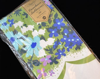 Vintage '70s Retro Floral Paper Tablecloth Luncheon Tablecover Funky Blue Green Purple Flower Power Paper Art Co