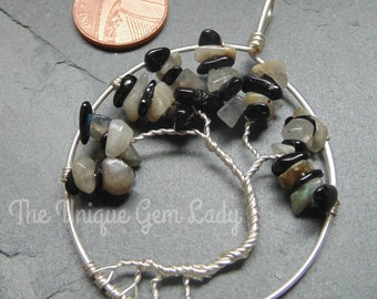 Aura Protection Blend Wire Wrapped Tree Of Life Pendant Jewellery ~ Gemstone Crystal Healing ~ Handmade Gift Ooak